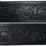 Wildlife Embossed Italian Black Leather Belt 1.5 inches wide with buckle